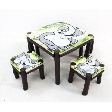 Детский стол и стулья Elephant 3 шт. квадратный (Комплект)