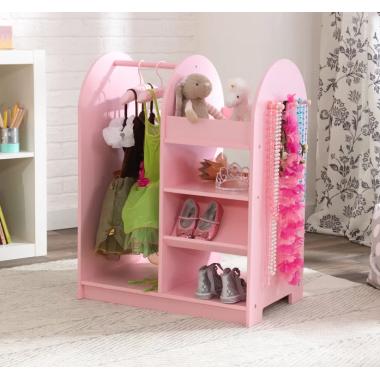 Игровой открытый гардеробный шкафчик для девочки Модница розовый