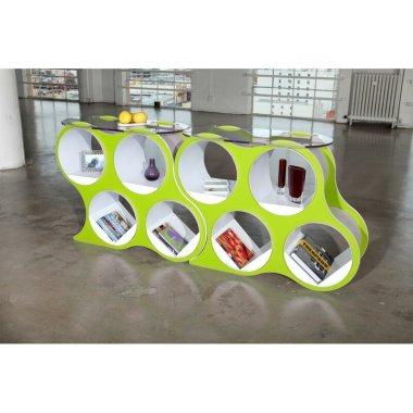 Стеклянный журнальный столик BOLLA POP с полками - Baby House
