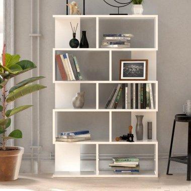 Геометрический белый книжный шкаф-полка Zoller