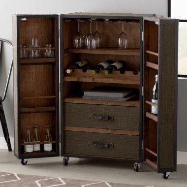 Барная стойка Acworth Rolling с напольным винным шкафом - Baby House