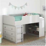 Двухъярусная кровать-чердак с полками и комодом Baby House серый