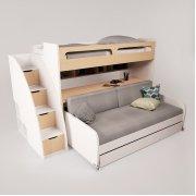Двухъярусная кровать Gautreau с ящиками, столом и дополнительным спальным местом Baby House Белый Альпийский/Береза полярная