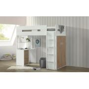 Двухъярусная кровать-чердак Изабелла с полками, шкафом, ящиками и столом Baby House Белый/Дуб