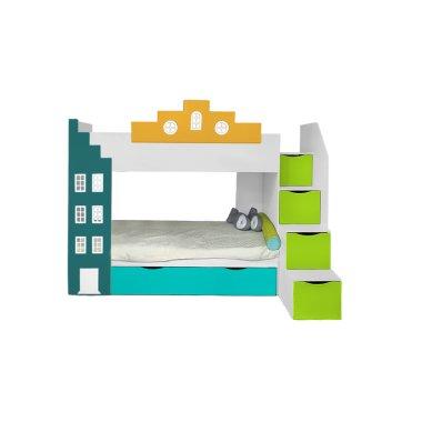 Двухъярусная детская кровать Амстердам с 3 спальным местом вход справа Little Room Baby House
