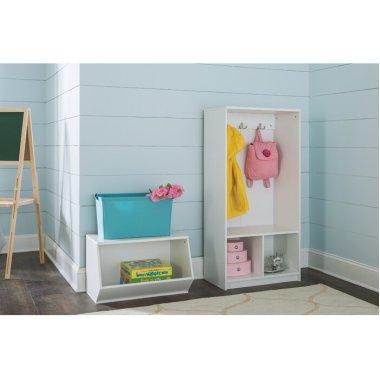 Открытый гардеробный шкаф с крючками белый