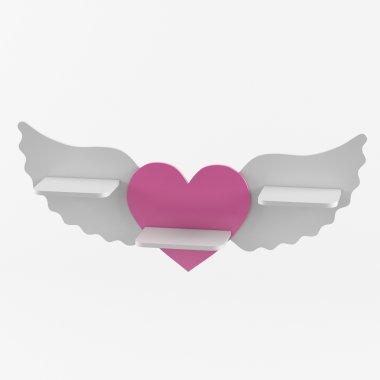Большая настенная декоративная детская полка сердце с крыльями Baby House