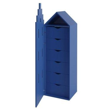 Детский шкаф домик комод Амстердам Little Room Baby House синий